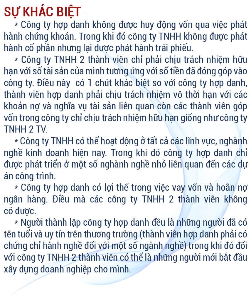 So sánh công ty TNHH 2 thành viên và công ty TNHH 1 thành viên, So sánh công ty TNHH 2 thành viên trở lên và cty cổ phần, So sánh công ty TNHH 1 thành viên và công ty hợp danh, So sánh doanh nghiệp tư nhân và công ty TNHH 2 thành viên trở lên
